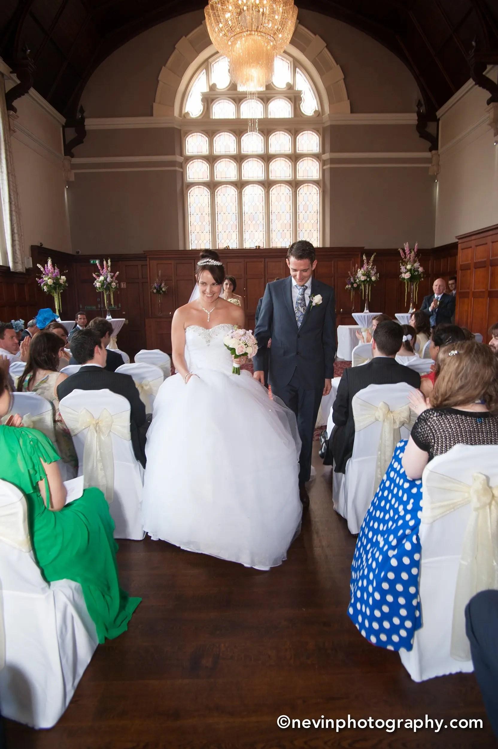 Just married aisle walk at Thomas Prior Hall