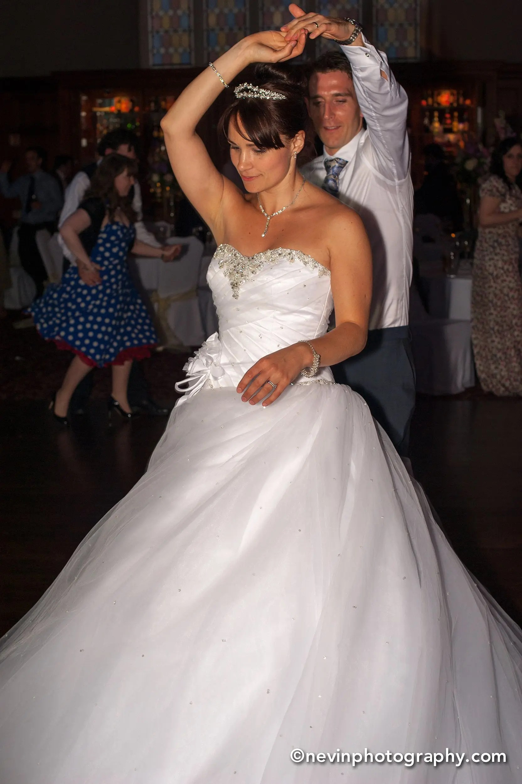 Swirling couple during dance as husband and wife