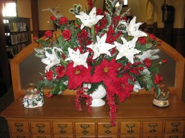 Bouquet on old card catalog
