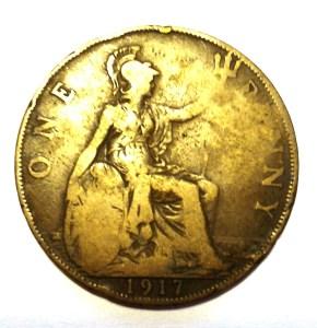 Монета One Penny 1917 год - Великобритания