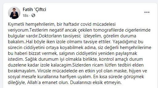 Gülşehir Belediye Başkanı Çiftçi, kendini karantinaya aldı