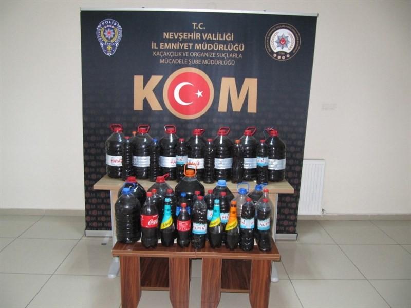 Hacıbektaş'ta 134 litre el yapımı şarap ele geçirildi