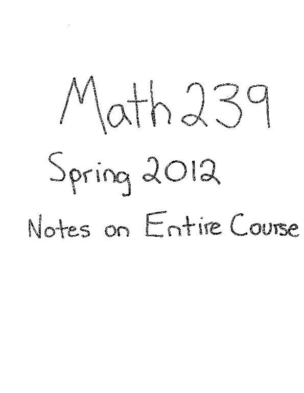 All Educational Materials for MATH239 at University of