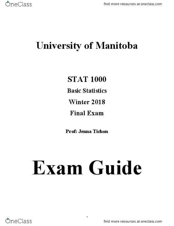 Study Guides for STAT 1000 at University of Manitoba (UOFM