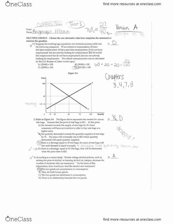 ECON 2010 Midterm: ECON2010 Test 1 Answers Version A