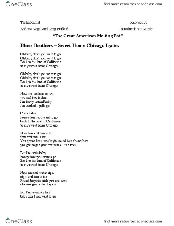 Download eric clapton sweet home chicago sheet music and printable pdf music notes. 07 700 101 Lecture Notes Spring 2015 Lecture 5 Sweet Home Chicago Cash Crop Humorous Interpretation