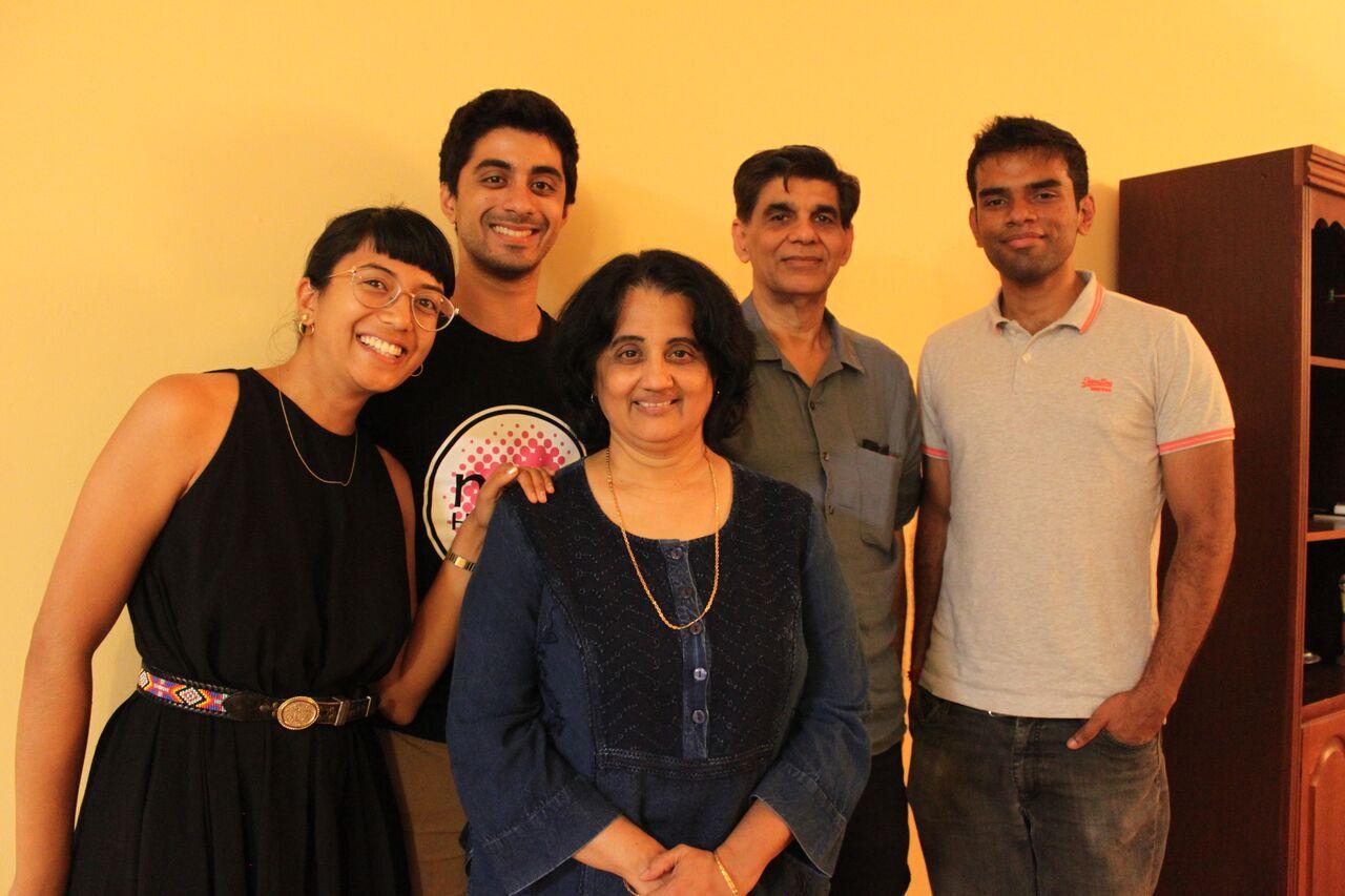 sha, Ryan, Ryan's Dad Sameer, Perumal, and Ryan's Mom Nandini at Ryan's parents home in Milford, CT.