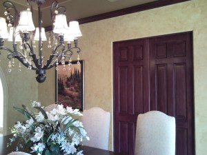 Gold metallic on ceiling, gold spong on walls, wood grained doors