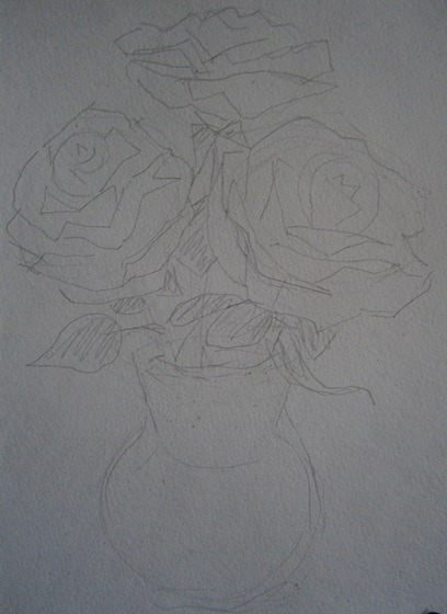Букет из 15 роз акварелью поэтапно, букет хризантемы