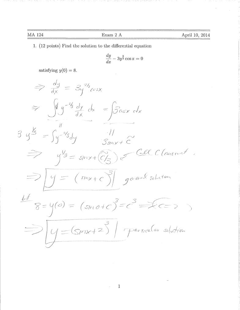 CAS MA 124 Midterm: MA124 Term Test 2 2014 Spring