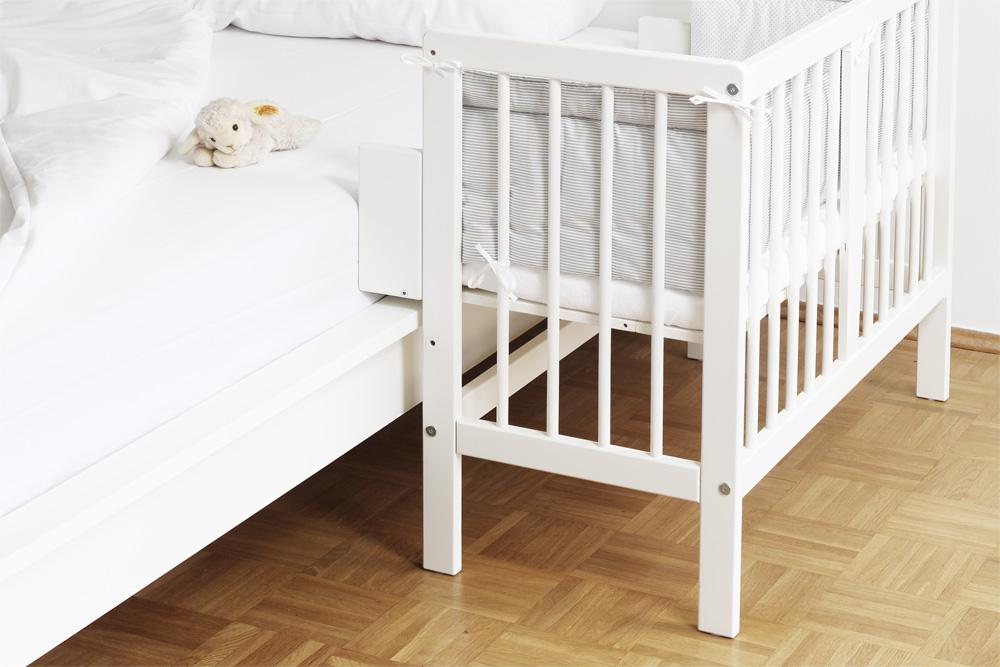 Dieses Baby Beistellbett passt auch an ein Ikea Malm Bett