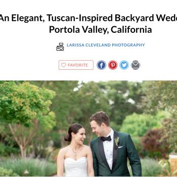 The Knot publication: An Elegant, Tuscan-Inspired Backyard Wedding in Portola Valley, California