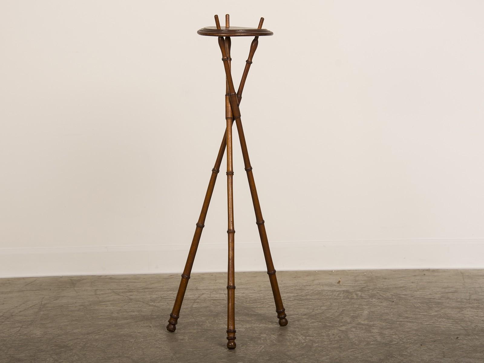Napoleon Iii Period Faux Bamboo Pedestal Display Stand