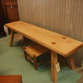 Signed and numbered rock maple hand crafted bench with turned oak legs- James Semmens