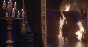 The Mother of Darkness amidst the flames destroying her lair.