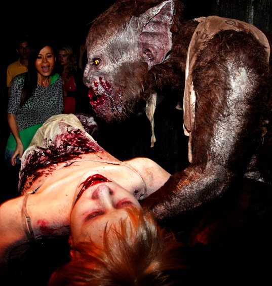 A monster chows down in the Universal Monster Remix maze at Halloween Horror Nights 2012