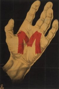 Poster art from Fritz Lang's M, one of the first movies dealing with a mentally disturbed serial killer.