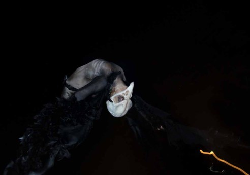 Los Angeles Haunted Hayride 2014 human-bird upside down