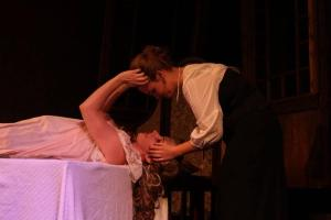 Mina (Ainsley Peace) finds Lucy (Lauren Sperling) exhausted after an encounter with Dracula