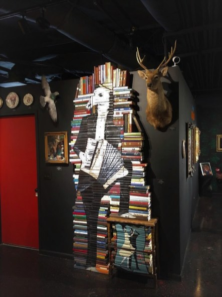 Interesting decor made of stacked books