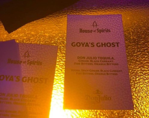 Goya's Ghost: Tequila with black currant, ginger & bitters