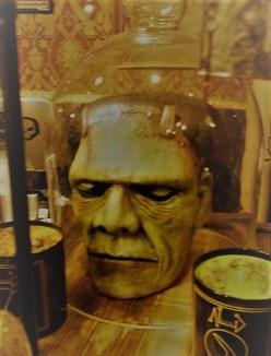 Frankenstein head in a jar.