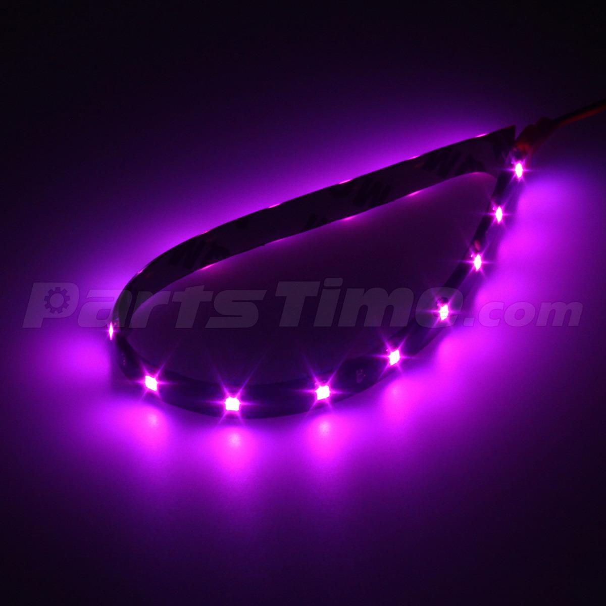 4pcs Pink Purple LED Strip Lights Interior Exterior Glow Neon Lighting Car Truck