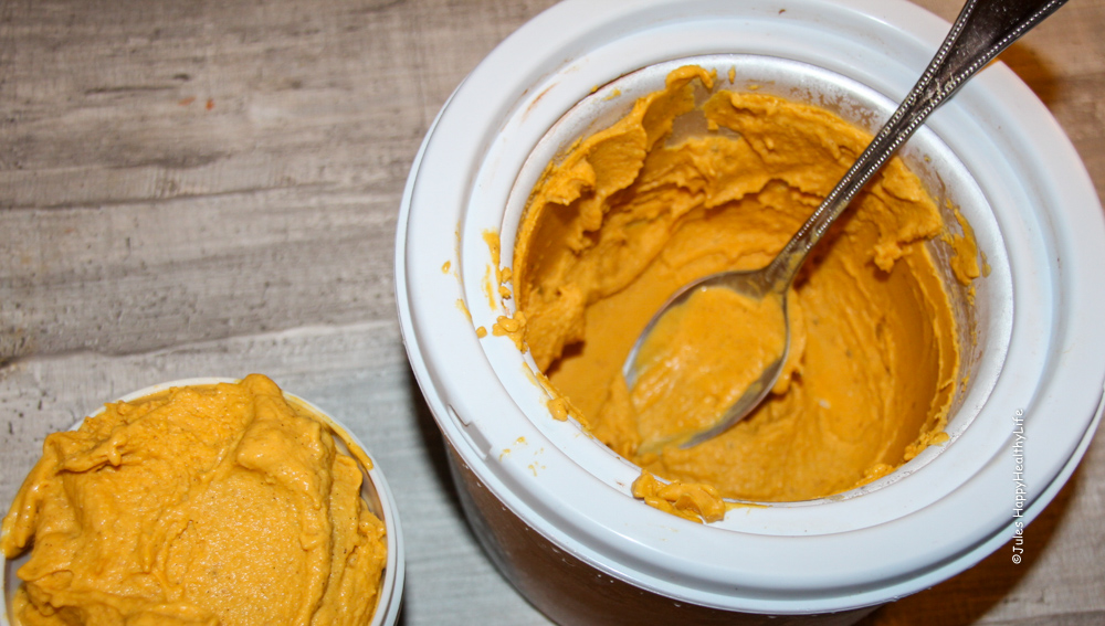 frozen butternut squash ice cream from the ice cream maker - Jules HappyHelathyLife