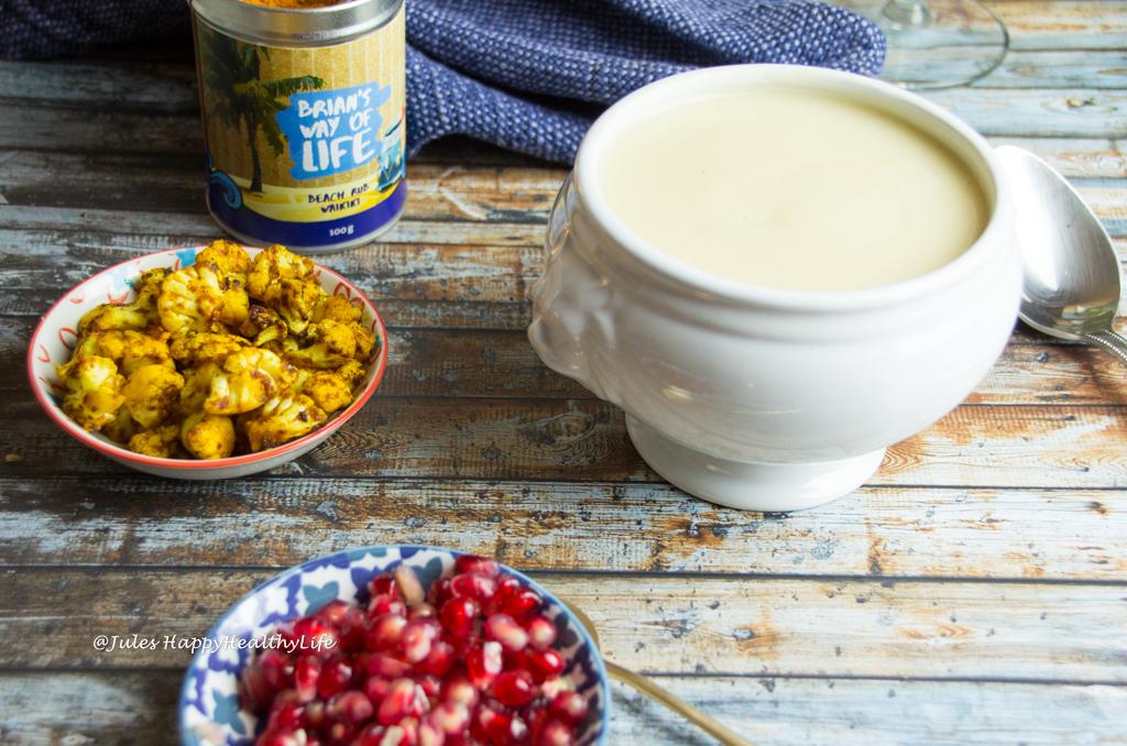 glutenfreie, vegane Blumenkohl Weisswein Suppe
