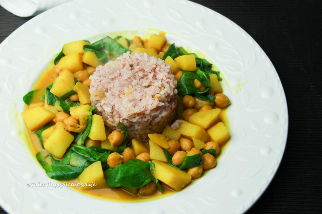 Veganes, glutenfreies Kurkuma Kichererbsen Curry mit Karoffeln