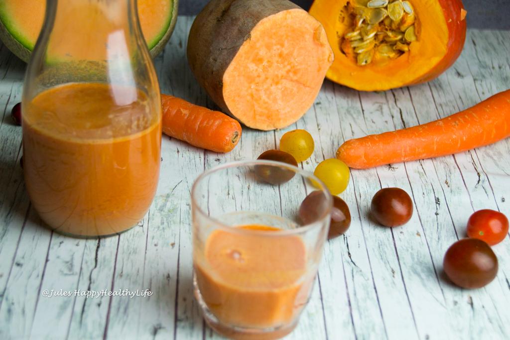 Clean Eating Kürbis Süßkartoffel Detox Saft glutenfrei, vegan