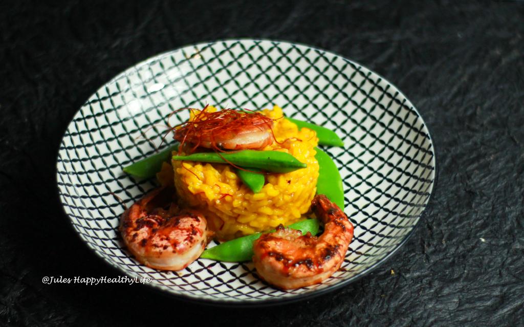 Glutenfreies Rezept für Safranrisotto mit Miso Tiger Prawns