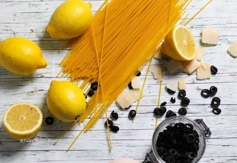 Zutaten für schnelles, glutenfreies Pastagericht - Spaghetti mit Zitronensauce