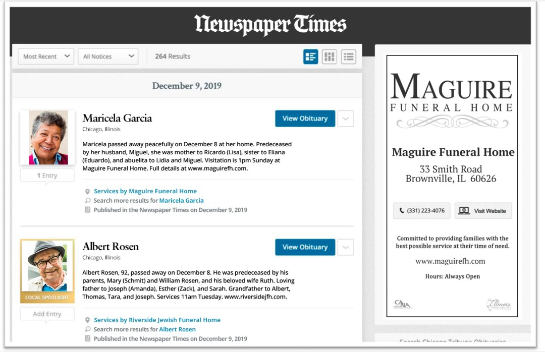 With Local Spotlight, all of your obituaries receive a new design.