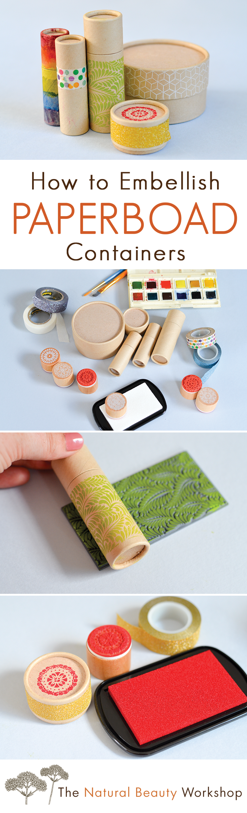 How to Embellish Paperboard Containers - Ideas and inspiration for adding handmade detail