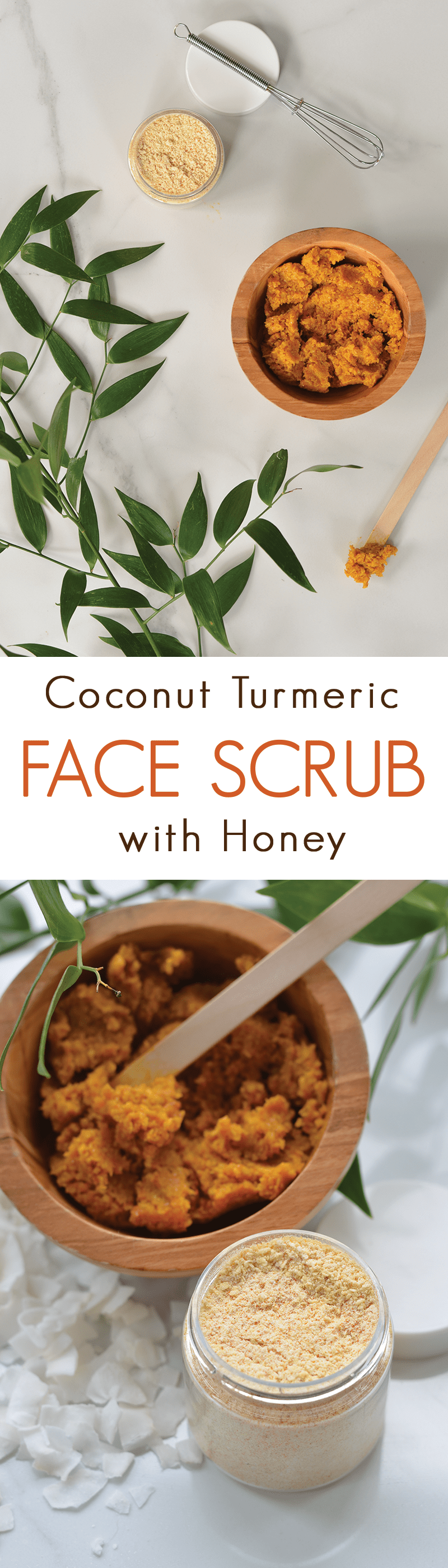 Make Your Own Coconut Honey Turmeric Face Scrub - a gentle facial scrub made with natural ingredients