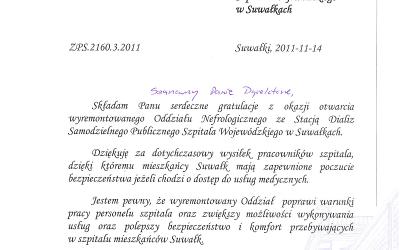 List gratulacyjny Prezydenta Miasta Suwałk – Otwarcie Oddziału Nefrologicznego