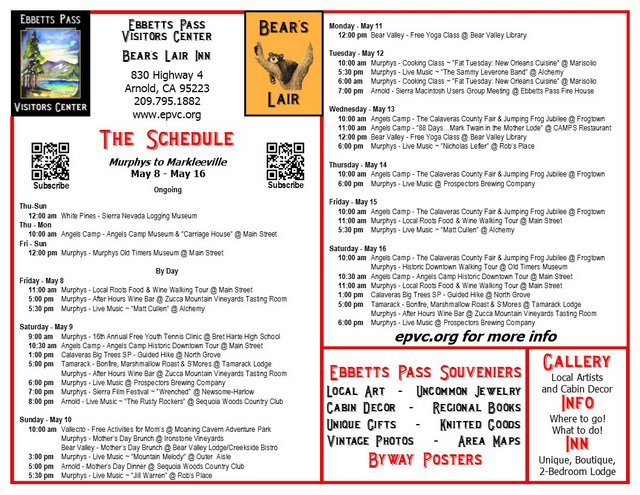 """Murphys to Markleeville – """"The Schedule"""" – May 8 to May 16"""