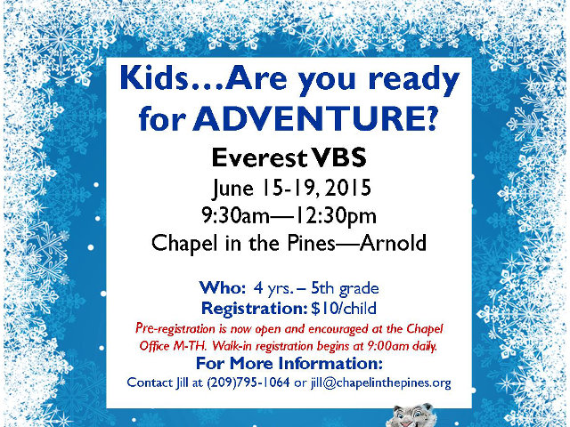 Chapel in the Pines Invites Children to Everest VBS: Conquering Challenges With God's Mighty Power!