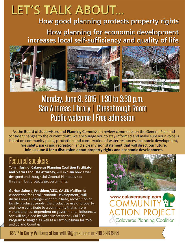 "Monday June 8, ""Let's Talk About…Planning, Property Rights, and Economic Development"""
