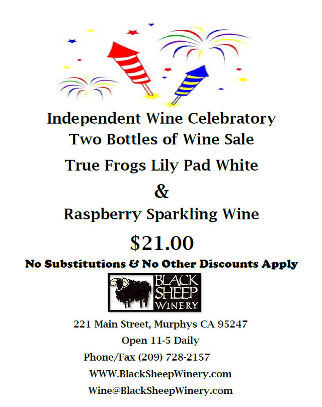 July Independence Savings From Black Sheep Winery