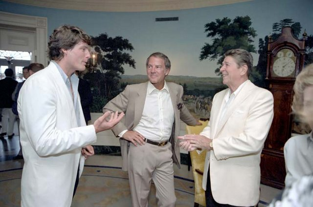 6/12/1983 President Reagan Christopher Reeve Frank Gifford hosting a reception and picnic in honor of the 15th Anniversary of the Special Olympics program in Diplomatic Reception Room