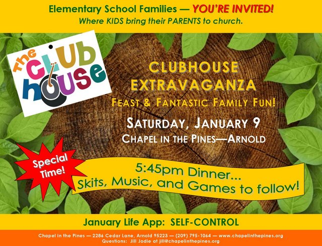 Clubhouse Extravaganza Family Fun Night on January 9th!