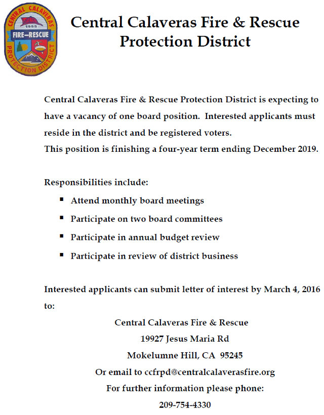 Central Calaveras Fire & Rescue Protection District Seeking Board Member