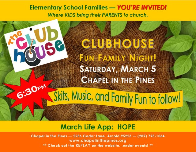 Make Plans For Family Fun Night At The Clubhouse March 5th