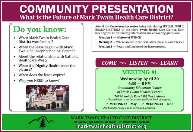 Mark Twain Health Care District To Hold Community Presentations Regarding Its Future.