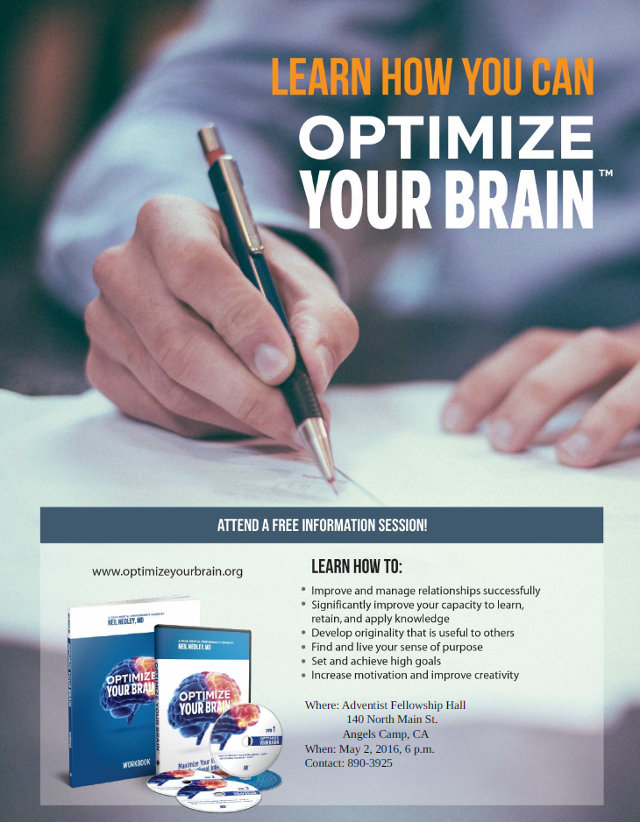Optimize Your Brain Seminar In Angels Camp On May 2nd