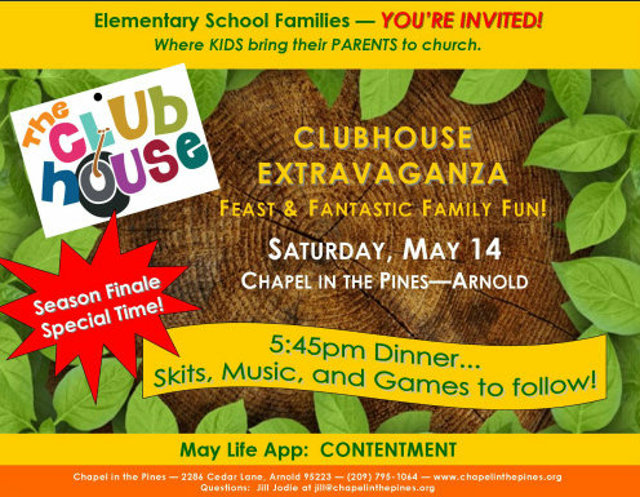 Clubhouse Extravaganza Family Fun Night At Chapel In The Pines