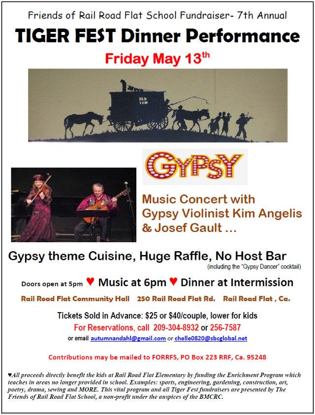 "May 13 ""Gypsy"" Tiger Fest Fundraiser in Rail Road Flat"