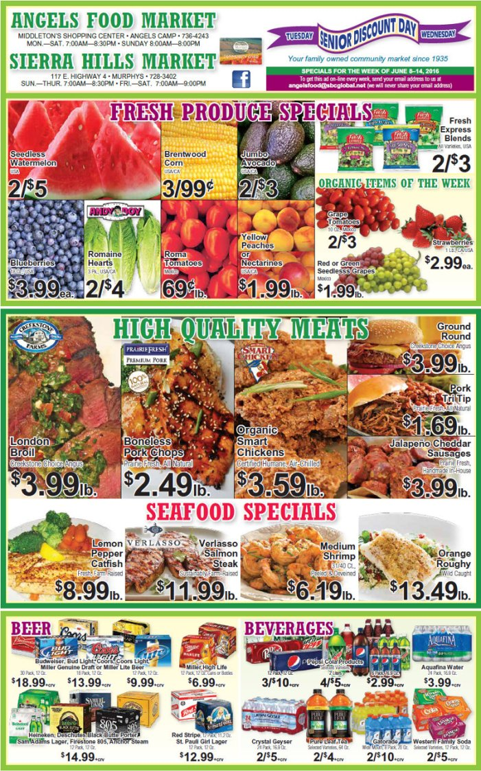Shop Local! Sierra Hills, Angels Food & Sierra Hills Natural Food Markets Weekly Specials Through June 14th